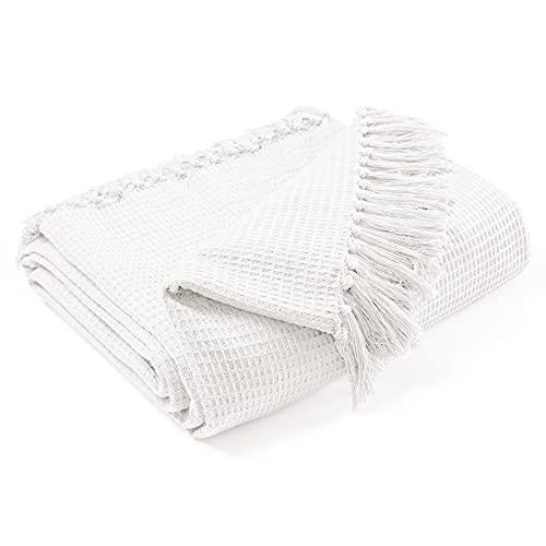 EHC Waffel Baumwolle gewebt King Size Sofa Throw 3-Sitzer Sofa/Stuhl/Doppelbett, 228 x 254 cm, Elfenbein
