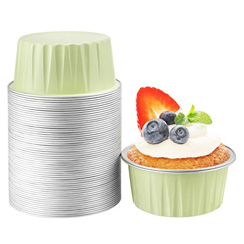 Foil Ramekins 5 oz, Beasea 50 Pack 3 Inch Muffin Liners Cups Disposable Ramekins Green Aluminum Foil Cups for Baking, Mini Creme Brulee Muffin Cupcake Baking Pudding Cups for Party Wedding Birthday