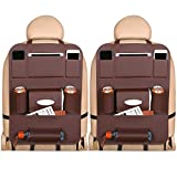 EONAZE - Organizador de maletero para coche, 2 unidades, organizador de piel, 8 compartimentos prácticos, para guardar juguetes infantiles, protección de asiento trasero para niños