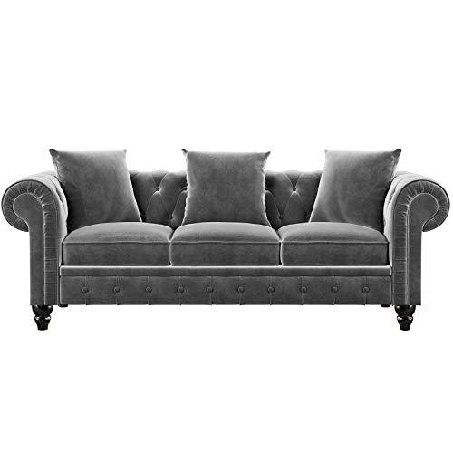 Vialogry Sofá clásico Chesterfield, tapizado de terciopelo de 3 asientos/sofá con almohadas (gris, 203,2 x 76,84 x 71,12 cm)