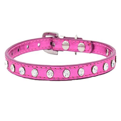 Generisches Hundehalsband PU Leder Halsbänder Bling Strass XXS XS für kleine Hunde Welpen Chihuahua Halsumfang verstellbar, Rosa XXS