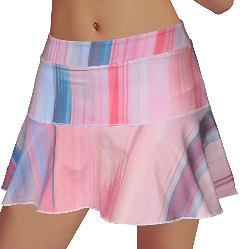 Rainbow Tree Tennis Skirts for Women,Athletic Golf Pleated Skirts with Shorts Indoor Exercise,Runs Large (Rainbow, M)
