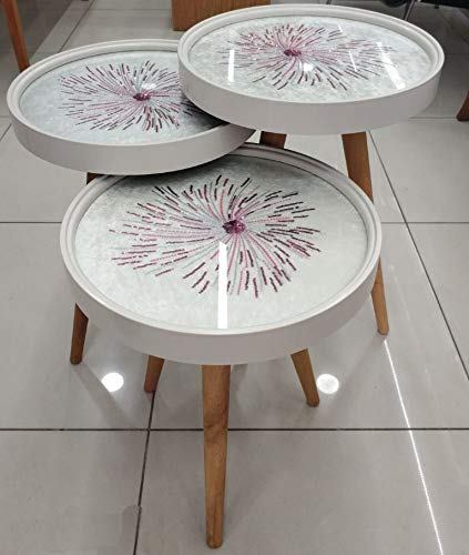 Decor Point bijzettafel salontafel salontafel glazen model design gebreid patroon 3'er