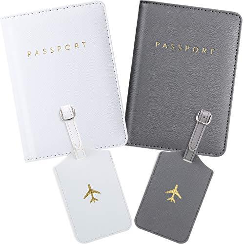 2 Pièces Couvertures de Passeport et 2 Pièces Étiquettes à Bagages, Porte-Passeport Étiquette de Valise de Voyage (Blanc, Gris)