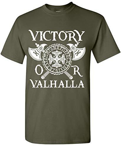 Silk Road Tees Victoria o Valhalla Vikingo Camiseta de los Hombres de Viking Patrimonio Camiseta Vahalla Odin la Camiseta Medium Verde Militar