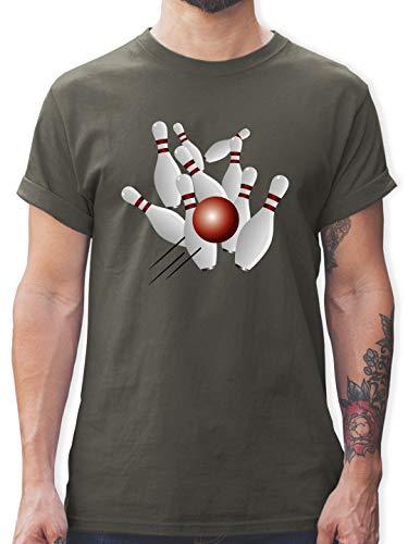Bowling & Kegeln - Kegeln alle 9 Kegeln Kugel - XXL - Dunkelgrau - Kegeln Shirt Herren - L190 - Tshirt Herren und Männer T-Shirts
