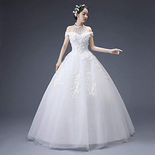 Kleid Brautkleid ein Brautkleid die Braut Brautkleid Vintage Brautkleid Zwei Herbst War Dünn Minimalist Qi Prinzessin Braut Brautkleid Prom/Weiß/m, L-F, Weiß, m