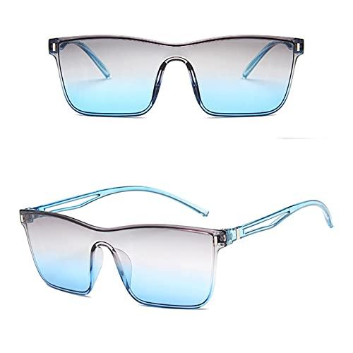 KAITUO Gafas de sol de una sola pieza con lentes de gran tamaño para mujer, gafas de sol retro para hombres y mujeres, lentes de gradiente de colores, marcos grandes, antirayos UV, color (lentes: GB)