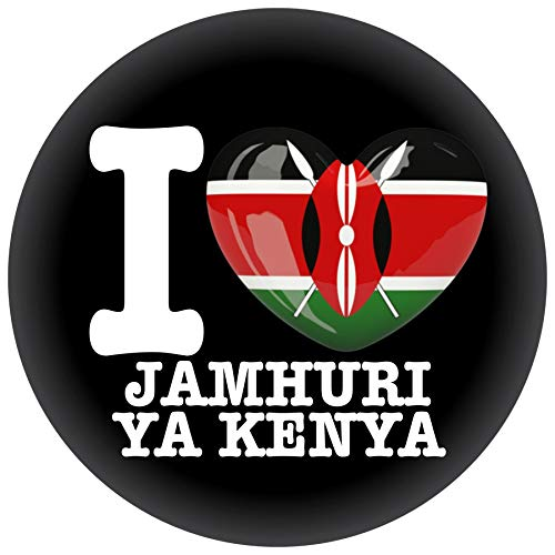 FanShirts4u Button/Badge/Pin - I Love KENIA Fahne Flagge (I LOVE JAMHURI YA KENYA)