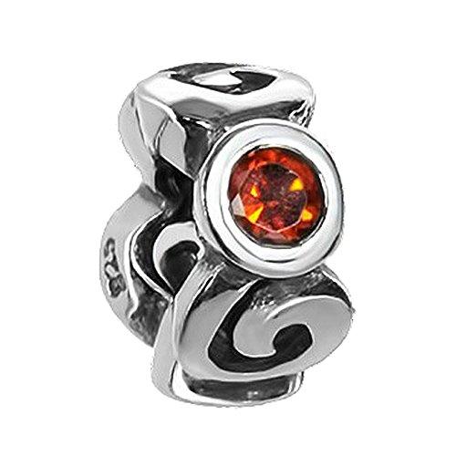 MATERIA Beads Spacer Zwischenelement 925 Silber mit 3 Zirkonia rot-orange inkl. Schmuckbox #1630