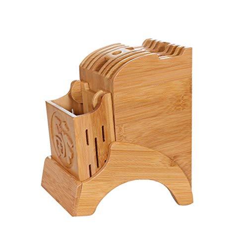 Multifonctionnel Support de Rangement de Cuisine - Bloc de Couteaux de Cuisine en Bambou Porte-Couteaux avec Support pour Une organisé et rangé Couteau de Cuisine