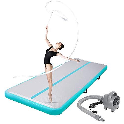 CHAMPIONPLUS 10ft 13ft 16ft 20ft Tumble Track Tumbling Mat Inflatable Gymnastics Air Mat 4/8 inches Thickness for Home Training Cheerleading Yoga with Electric Air Pump Mint Green 10'x3.3'x4''