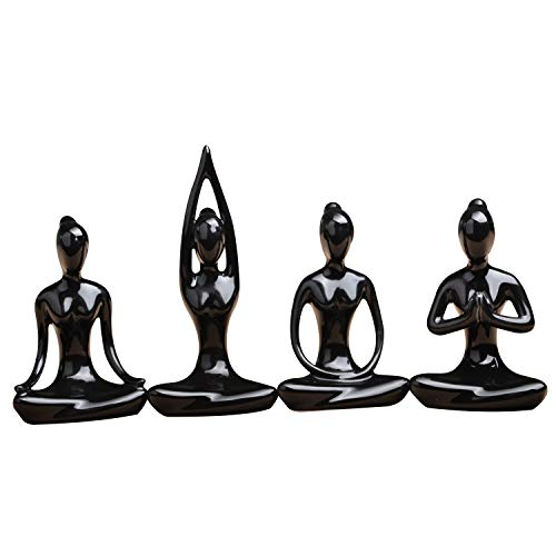 OwMell Lot of 4 Meditation Yoga Pose Statue Figurine Ceramic Yoga Figure Set Decor (Black Set)