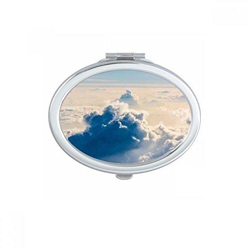 DIYthinker Big Ben Nuages Bleu Sky Ovale Maquillage Compact Miroir de Poche Portable Mignon Petit Miroirs Main Cadeau Multicolor