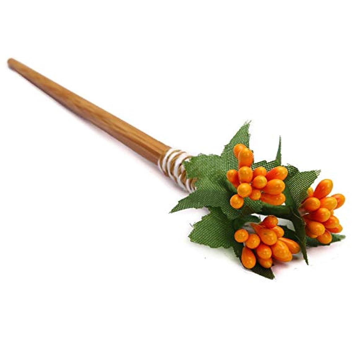 シンプルさ忌まわしい汚染されたHuaQingPiJu-JP クラシックフラワーヘアクリップマニュアルパレス結婚式アクセサリーエレガントなコートヘアクリップギフト(オレンジ)