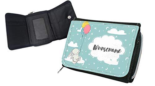 wolga-kreativ Kindergeldbörse Geldbörse Geldbeutel Portemonnaie mit Namen Hase Luftballon für Jungen und Mädchen personalisiert für Kinder klein Geschenk Geburtstag Einschulung Schultüte Füllung