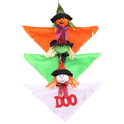 Horuhue 3 pcs Halloween Decoration Hanging Ghosts, 16 inch Cute Pumpkin Bat Scarecrow Windsock Pendant Ghost Decorations for Front Yard Patio Lawn Garden Party Décor and Holiday Decorations