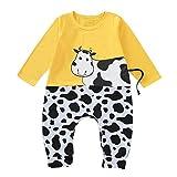 Ucoolcc Neugeborenes Baby Patchwork Strampler O-Ausschnitt Langarm Kuh Karikaturdruck Kleidung Kinder Schlafanzug Babykleidung Baumwolle Bodysuit Reizender Baby Playsuit