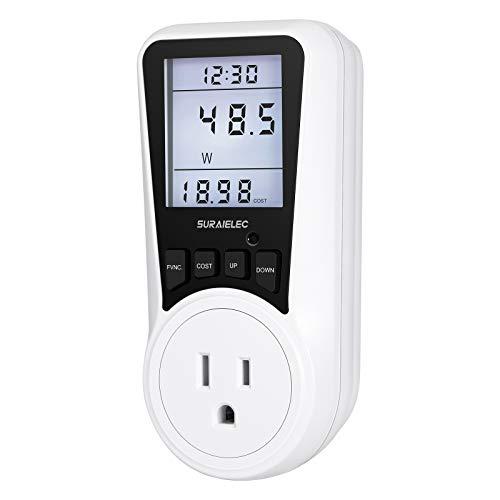 Suraielec Watt Meter, Plug-in Socket Power Meter, Auto Cost Calculator, Backlit Large Display, Overload Protection, Kilowatt Wattage Voltage AMP Tester, Electricity Usage Electrical Energy Monitor
