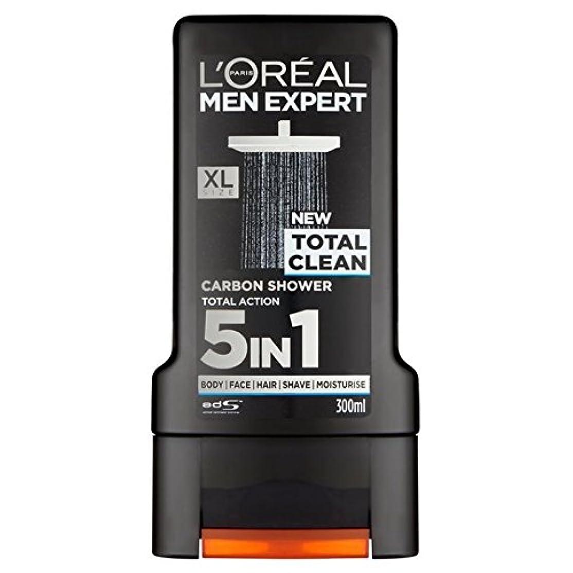 助手手当なぜロレアルパリのメンズ専門トータルクリーンシャワージェル300ミリリットル x4 - L'Oreal Paris Men Expert Total Clean Shower Gel 300ml (Pack of 4) [並行輸入品]