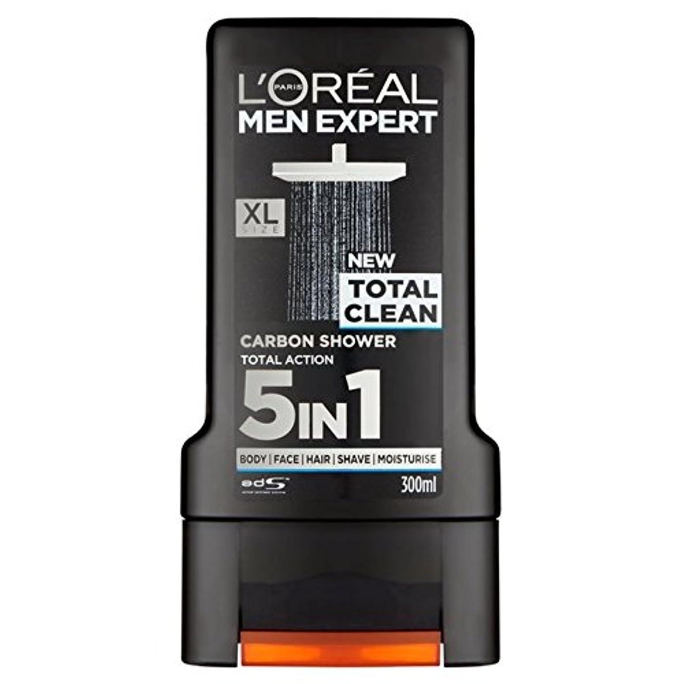 バンカー十不安L'Oreal Paris Men Expert Total Clean Shower Gel 300ml (Pack of 6) - ロレアルパリのメンズ専門トータルクリーンシャワージェル300ミリリットル x6 [並行輸入品]
