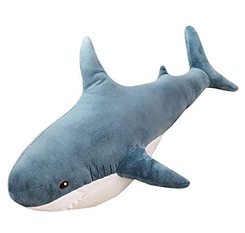 Sobneqce サメのぬいぐるみ人気のある睡眠枕旅行仲間のおもちゃギフトシェークかわいいぬいぐるみ動物の魚の枕おもちゃ かわいいぬいぐるみ (Color : White, サイズ : 80cm)