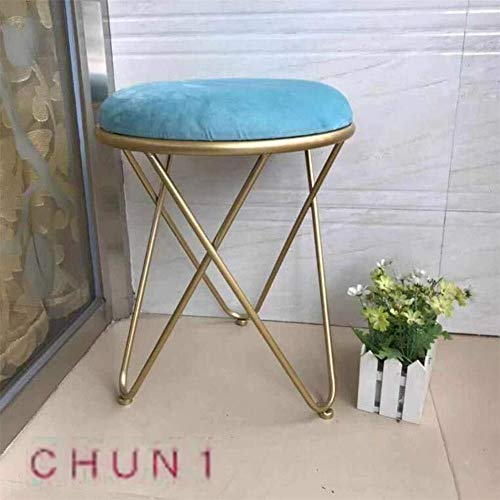 CHU N1 Pequeño Taburete Redondo, de Tres Patas de Hierro Forjado escabel de Oro tapizado de Muebles de Dormitorio 37cm x 46cm 126 (Size : L3)