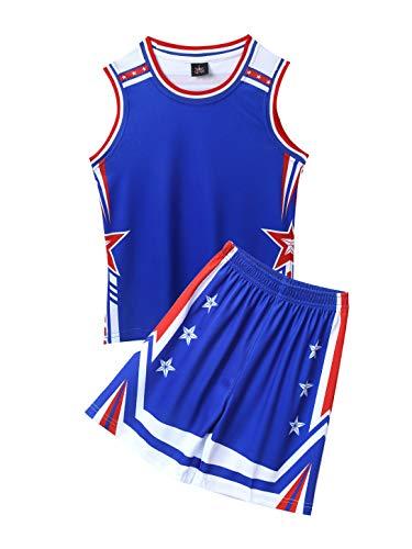 Aislor Basketball Trainingsanzug Set Kinder Unisex Basketball Fußball Trikot Atmungsaktiv Shirt mit Shorts Loose Fit Sportanzug Zweiteiler Blau 158-164