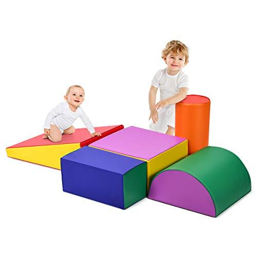 DREAMADE 5 TLG. Softbausteine für Kinder, Großbausteine Riesenbausteine zum Toben und Klettern, Schaumstoffbausteine für Kindergarten Kinderzimmer, Bauklötze aus PE und EPE, Bunt