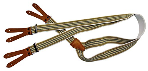 Karl Teichmann Pattenhosenträger mit 3 Leder-Patten zum Knöpfen, Beige/dünne Streifen