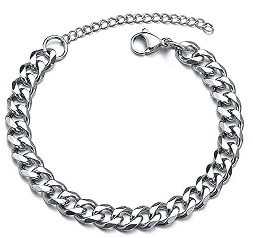 Lsooyys Moda hombres pulsera clásico acero inoxidable plata 3/5/7mm ancho cadena pulsera para hombres mujeres joyería regalo