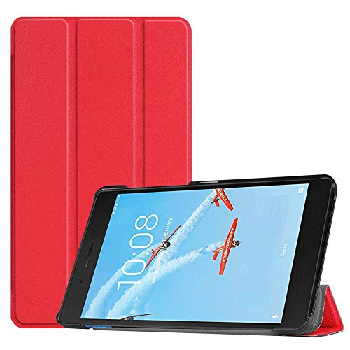 Case2go - Case for Lenovo Tab E7 - Slim Tri-Fold Book Case - Lightweight Smart Cover - Red