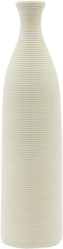 Telawsfun White Tall Ceramic Flower Vase ,Geometric Narrow Top Ceramic Flower Pottery ,10 inch Thin Mantel Decor Vases for Centerpiece Table Decoration