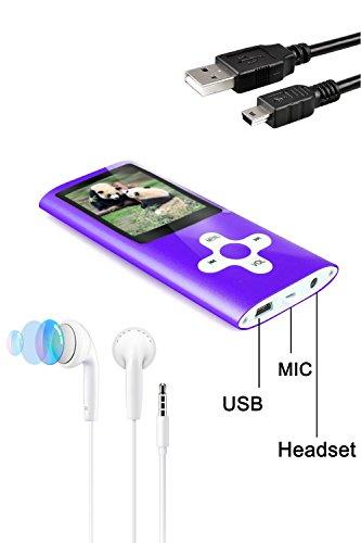 Tabmart Reproductor de música MP3 MP4 con tarjeta de memoria microSD de 16 GB compatible con reproductor de audio Reproductor multimedia Radio FM E-book Altavoz incorporado de larga duración de la batería 1.81 pulgadas Pantalla a color reproductor de música púrpura ✅