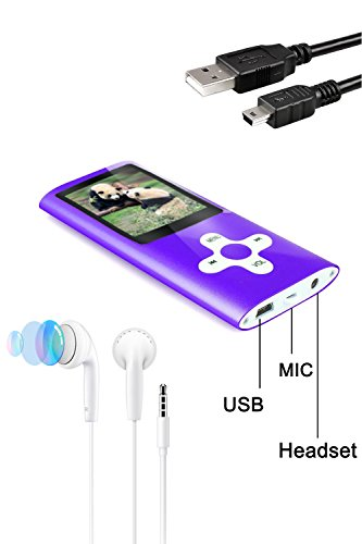 Tabmart® MP3 MP4 Musik Player Inklusiv 16 GB MicroSD Unterstützung Audio Player Media Player 1,81 Zoll Farbdisplay FM Radio E-Books Lange Akkulaufzeit Musik Player Violett