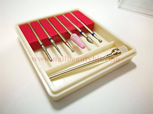 EASTAR 1 juego de brocas de diamante para uñas, 3/32 diámetro de la caña de 2,35 mm, brocas con brocha(SET02)