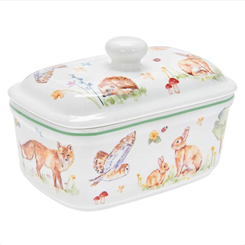 The Leonardo Collection LP94486 Woodland Wildlife - Mantequilla (porcelana fina, 17 x 10 x 11 cm), en caja