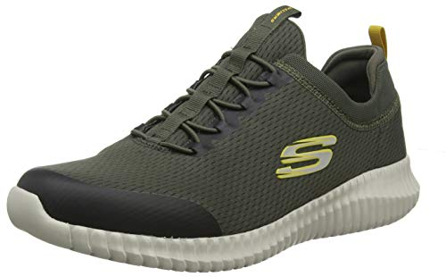 Skechers Men's Elite Flex-BELBURN Trainers, Green (Olive Mesh/Trim Old), 9 (43 EU)