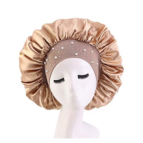 HHSUU Satén Rhinestone Sombrero Durmiente Noche Sueño Cap Cabello Cuidado Salón Maquillaje Diadema (Color : Khaki)