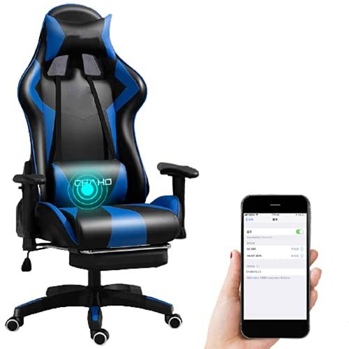 Silla Gaming La Silla para Juegos de Oficina en casa Puede Girar y reclinarse con Pedal retráctil Altavoz Bluetooth Respaldo cómodo Silla para computadora,E
