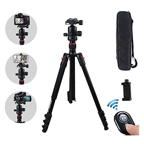 AUKOOL Tripod, Camera Tripod for DSLR and Cell Phone, 360 Degree Aluminum panorma Ball Head and 8 pounds Load, Lightweight Aluminum Compact Tripod/Monopod for Trval and Work