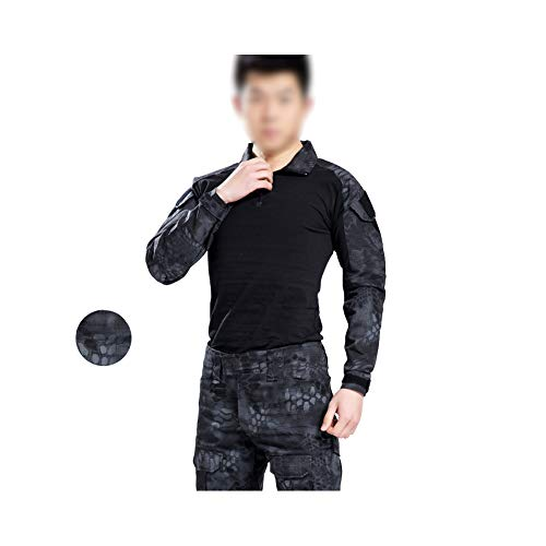 QWET Military Rapid Assault Tactical Slim Fit Top met lange mouwen en broeken, 1/4 Ritshals Jacht Kleding (Black Python Patroon)