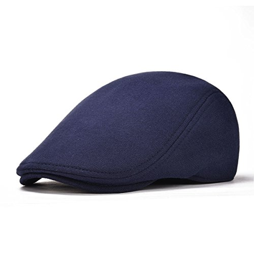 VOBOOM Men's Cotton Flat Ivy Gatsby Newsboy Driving Hat Cap (Style2-Navy)