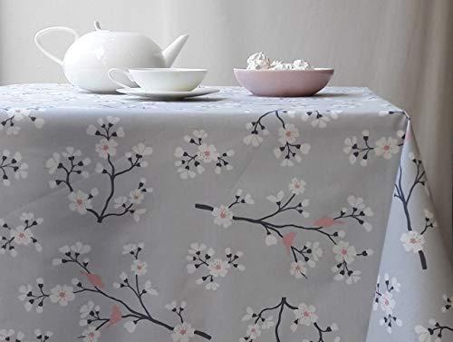 Fleur de Soleil - Nappe enduite Cerisier Gris/rose Dimension - Carrée 120x120cm, Finition - Non ourlée (coupe franche), Matière - Coton enduit