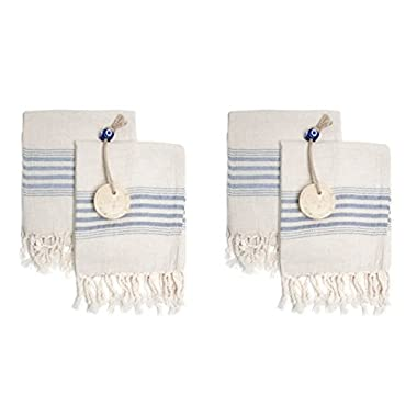 Set of 4 Linen Premium Quality Tea Towel Natural in Color and Eco-friendly Dish Towel, Hand-loomed Dishclothes, Cream Kitchen Towel Set, Hand Towel Set, (Blue)