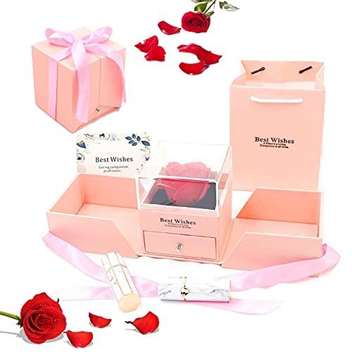 Rosa Real Preservada Eterna Rosa Eterna Hecha A Mano Flor Rosa Eterna Nunca Marchita Caja De Regalo Rosa Eterna Regalo De Flores Preservadas Rosa para El Aniversario del Día De San Valentín