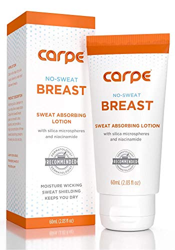 Carpe No-Sweat Breast - Helps Keep Your Breasts and Skin Folds Dry - Sweat Absorbing Lotion - Helps Control Under Breast Sweat - Great For Chafing and Stain Prevention