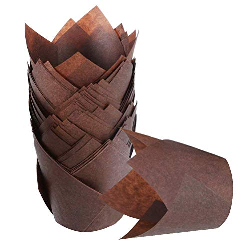 ATPWONZ 200pcs Tulip Style Baking Cups Muffin Cupcake Liner Unbleached Brown Baking Paper Cups for Parties Weddings Anniversaries