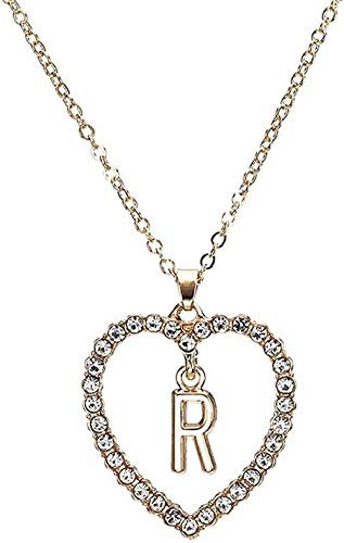 Zaaqio Collar Mujer S Forma de corazón Collar con Colgante de Letra Estilo de Verano Collar de Cadena de Cristal Adornos Regalo de Novia