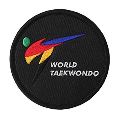 Mooto Taekwondo Basic Type Kreisdurchmesser 80mm Stickerei Patch 1 EA Weiß & Schwarz Taegeukgi World Taekwondo Kukkiwon TaekwondoWon (5. World Taekwondo(Black))